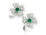 Cheryl M Sterling Silver Simulated Emerald/CZ 4-leaf Clover Post Earrings