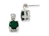 Cheryl M Sterling Silver 8mm Simulated Emerald and CZ Dangle Post Earrings