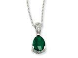 Cheryl M™ Sterling Silver Rose-cut Pear Simulated Emerald and CZ 18in Necklace style: QCM371