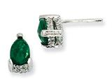 Cheryl M™ Sterling Silver Rose-cut Pear Simulated Emerald and CZ Post Earrings