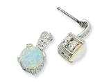 Cheryl M™ Sterling Silver 8mm Syn Opal Cabochon and CZ Dangle Post Earrings