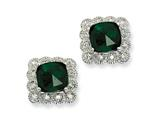 Cheryl M™ Sterling Silver Rose-cut Sim.Emerald and CZ Square Post Earrings