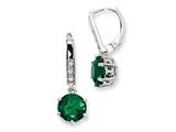 Cheryl M™ Sterling Silver Simulated Emerald and CZ Leverback Earrings