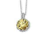 Cheryl M™ Sterling Silver Round Canary and White CZ 18in Necklace