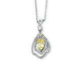 Cheryl M Sterling Silver Marquise Canary and White CZ 18in Necklace