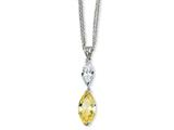 Cheryl M™ Sterling Silver Marq Canary/White CZ 17in w/2in xtDouble Strand Necklace