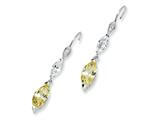 Cheryl M™ Sterling Silver Marquise Canary/White CZ Dangle French Wire Earrings