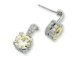Cheryl M™ Sterling Silver 8mm Canary and White CZ Dangle Post Earrings