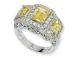 Cheryl M Sterling Silver Canary and White CZ 3-stone Ring