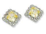 Cheryl M™ Sterling Silver Canary and White CZ Fancy Square Post Earrings