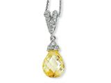 Cheryl M Sterling Silver Teardrop Canary and White CZ 18in Necklace