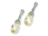 Cheryl M™ Sterling Silver Teardrop Canary and White CZ Dangle Post Earrings