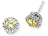 Cheryl M™ Sterling Silver Canary and White CZ Round Post Earrings style: QCM397