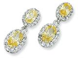 Cheryl M™ Sterling Silver Oval Canary CZ Dangle Post Earrings