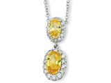 Cheryl M™ Sterling Silver Oval Canary CZ 18in Necklace