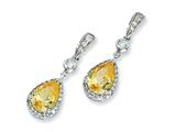 Cheryl M™ Sterling Silver Pear Canary and White CZ Dangle Post Earrings style: QCM400