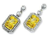 Cheryl M™ Sterling Silver Canary and White CZ Dangle Post Earrings