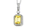 Cheryl M™ Sterling Silver Canary and White CZ 18in Necklace style: QCM403