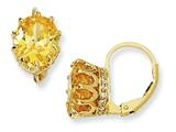 Cheryl M™ Gold Plated Sterling Silver 100-facet Yell/White CZ Leverback Earrings
