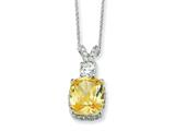 Cheryl M™ Sterling Silver Canary and White CZ 18in Necklace
