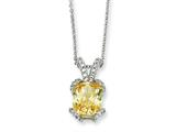 Cheryl M™ Sterling Silver Canary and White CZ 18in Necklace style: QCM406
