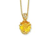 Cheryl M™ Gold Plated Sterling Silver 100-facet Yellow and White CZ 18in Necklace