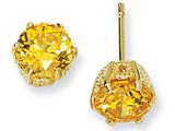 Cheryl M™ Gold Plated Sterling Silver 6.5mm Yellow CZ Stud Earrings