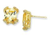 Cheryl M™ Sterling Silver Canary and White CZ Post Earrings style: QCM409