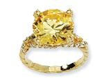 Cheryl M™ Gold Plated Sterling Silver Yellow and White CZ Ring