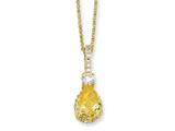 Cheryl M Gold Plated Sterling Silver Pear Canary and White CZ 18in Necklace