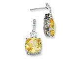 Cheryl M™ Sterling Silver Square Canary and White CZ Dangle Post Earrings