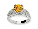 Cheryl M™ Sterling Silver Checker-cut Yellow and White CZ Ring style: QCM413