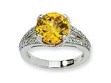 Cheryl M™ Sterling Silver Checker-cut Yellow and White CZ Ring style: QCM415