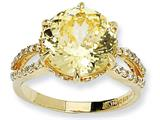Cheryl M Gold Plated Sterling Silver 100-facet Canary and White CZ Ring