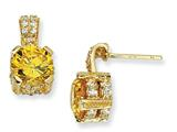 Cheryl M™ Gold Plated Sterling Silver 8mm Yell and Wht CZ Dangle Post Earrings