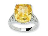 Cheryl M™ Sterling Silver Canary and White CZ Ring style: QCM419