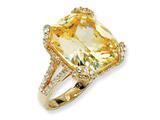 Cheryl M Gold Plated Sterling Silver Champ/Wht CZ Ring