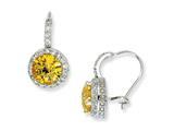 Cheryl M™ Sterling Silver Checker-cut Yellow and White CZ French Wire Earrings