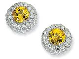 Cheryl M™ Sterling Silver Checker-cut Yellow CZ Post Earrings