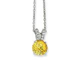 Cheryl M Sterling Silver Checker-cut Yellow and White CZ 18in Necklace