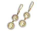 Cheryl M™ Gold Plated Sterling Silver Checker Canary CZ 2-stone Wire Earrings