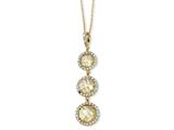 Cheryl M™ Gold Plated Sterling Silver Chkr-cut Canary CZ 3-stone 18in Necklace