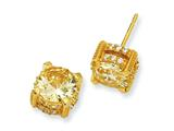 Cheryl M Gold Plated Sterling Silver 8mm Canary CZ Stud Earrings