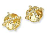 Cheryl M™ Gold Plated Sterling Silver Checker-cut Canary CZ Post Earrings