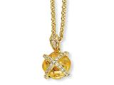 Cheryl M™ Gold Plated Sterling Silver Checker-cut Canary CZ 18in Necklace