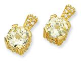 Cheryl M™ Gold Plated Sterling Silver Canary and White CZ Post Earrings