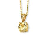 Cheryl M™ Gold Plated Sterling Silver Canary and White CZ 18in Necklace