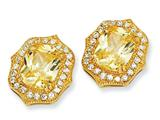 Cheryl M™ Gold Plated Sterling Silver Asscher-cut Canary CZ Post Earrings