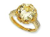 Cheryl M™ Gold Plated Sterling Silver Fancy Canary and White CZ Ring