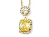 Cheryl M Gold Plated Sterling Silver Canary/White CZ 18in Necklace